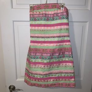 Lilly pulitzer pink green ribbon strapless dress 8